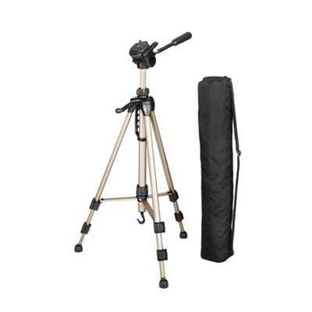 Hama Products 3-way tripod head with quick release plate. With crank for continuously variable height adjustment of centre column. Closed length: 60cm. Fully extended length: 153cm. [4161]