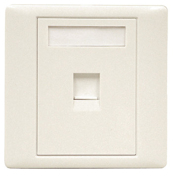 White RJ45 Shuttered Outlet Plate With Screws.  Blister