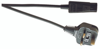 Eagle Black 1 m 3 Pin UK to IEC 10 A Cold Mains Lead