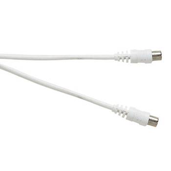Standard Coaxial Plug to Coaxial Plug TV and Video Lead White [T105L]