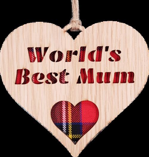 World's Best Mum Heart Hanging Plaque   LH10