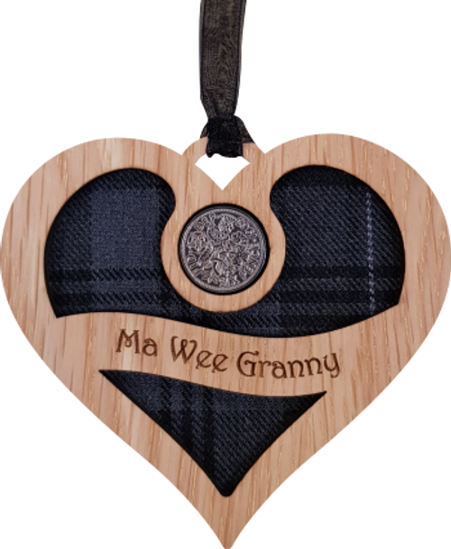 Ma Wee Granny - Heart Lucky Sixpence   LS40