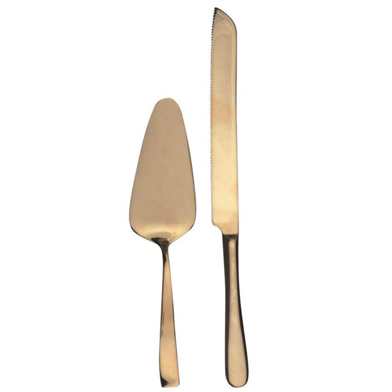 Cake Serving Set - Gold Finish, Set of 2