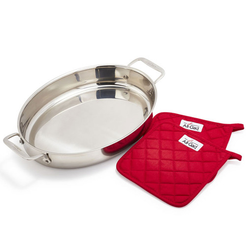 Oval Stainless Roaster - Baker with Pot Holders, 15-in