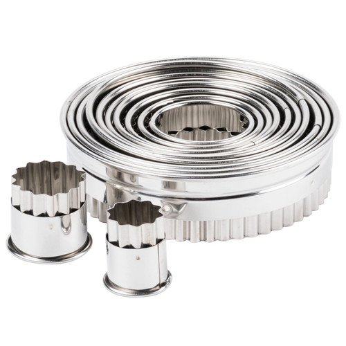 Round Fluted Cutter Set - Stainless Steel, 12-Piece