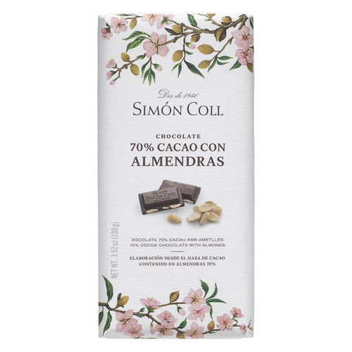 Chocolate Bar  with Almonds - 70% Cocoa, 100g
