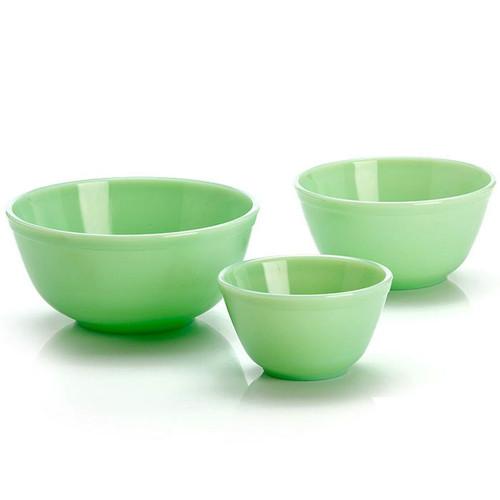Nesting Mixing Bowls - Jadeite Green Glass, 3 Piece