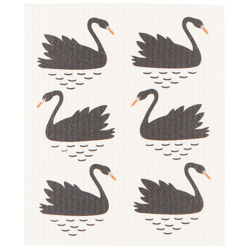 Swedish Dishcloth - Swan Lake, 6.5 x 8-in