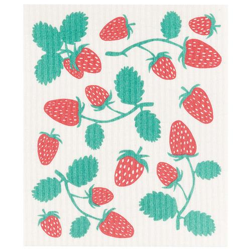 Swedish Dishcloth - Strawberries, 6.5 x 8-in