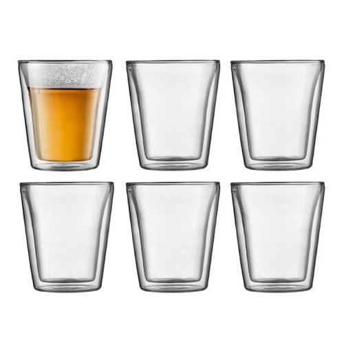 Canteen Double Wall Thermo-Glass Mugs - 6oz, Set of 6