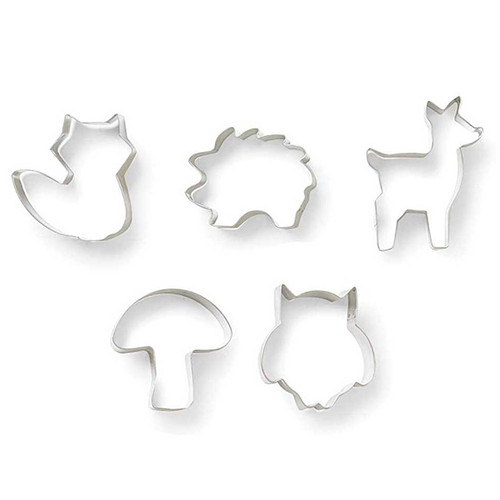 Woodland Animal Stainless Steel Cookie Cutters, Set of 5