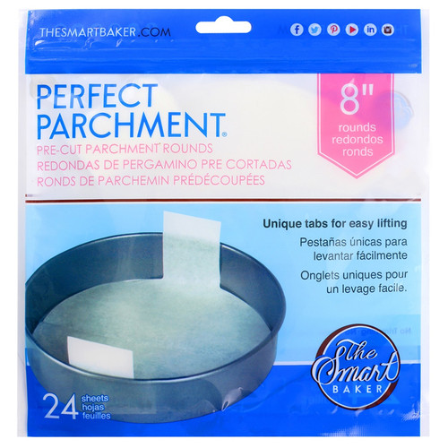 Round Cake Pan - 8-in Pre-Cut Parchment, 24 Sheets