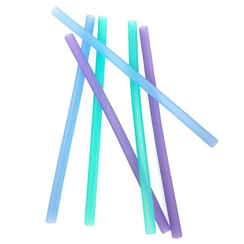 Reusable Silicone Straws -Purple-Blue-Sea, Set of 6