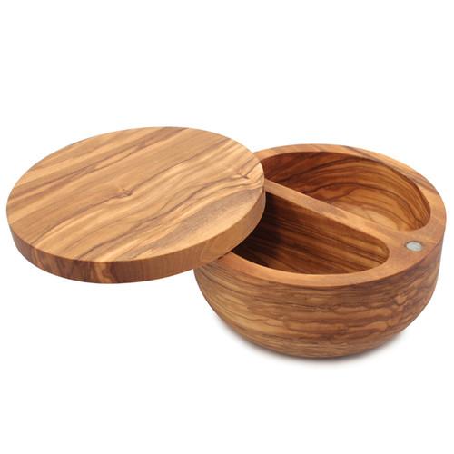 Palermo Olive Wood Salt Keeper - Magnetic Lid, 5-in