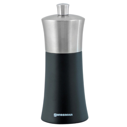 Torre Pepper Mill - Black Matte + Stainless Top, 6-in