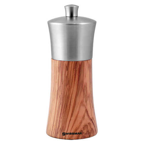 Torre Olive Wood Pepper Mill - Stainless Top, 6-in