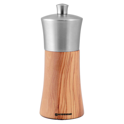 Torre Olive Wood Salt Mill - Stainless Top, 6-in