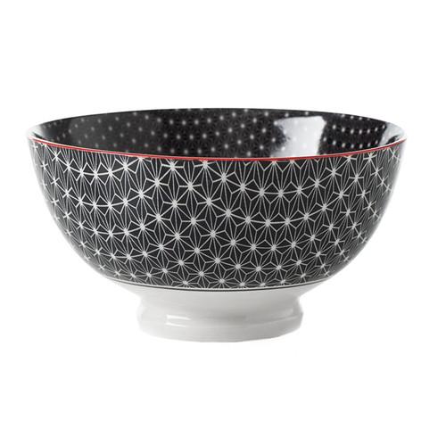 Kiri Porcelain Medium Bowl - Black Star, 6-in