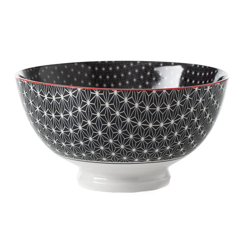 Kiri Porcelain Medium Bowl - Black Star, 6-in