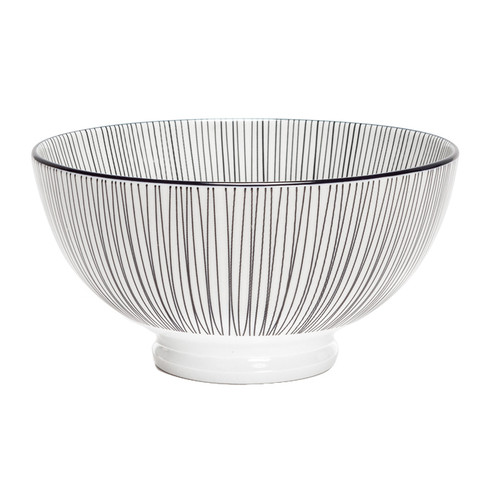 Kiri Porcelain Medium Bowl - Black Lines, 6-in