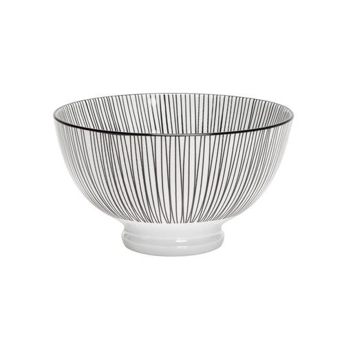 Kiri Porcelain Small Bowl - Black Lines, 4.5-in