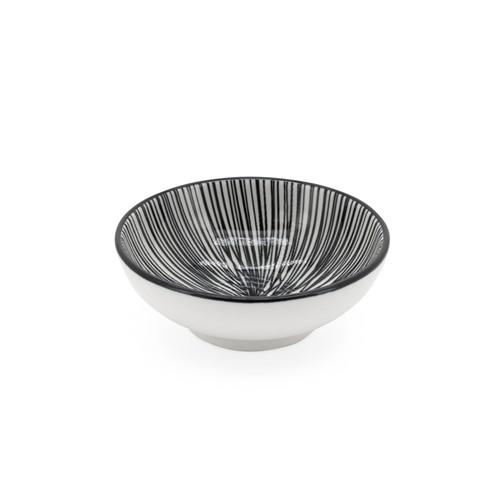 Kiri Porcelain Sauce Dish - Black Lines, 3-in
