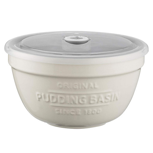 Pudding Basin 0.9L with Airtight Lid, White + Grey