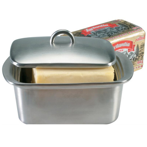 Double Walled Butter Box - Stainless Steel, 5.5x4-in