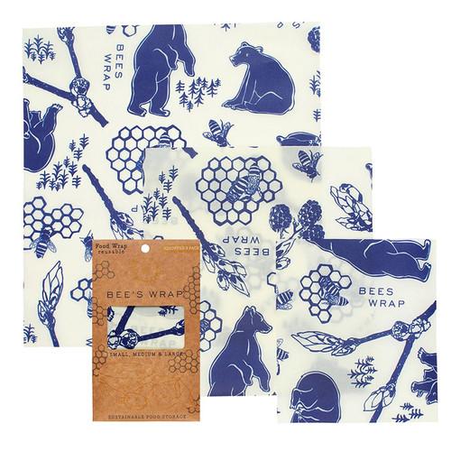 Reusable Food Wrap - Bee's + Bears Print, Assorted 3-Pack