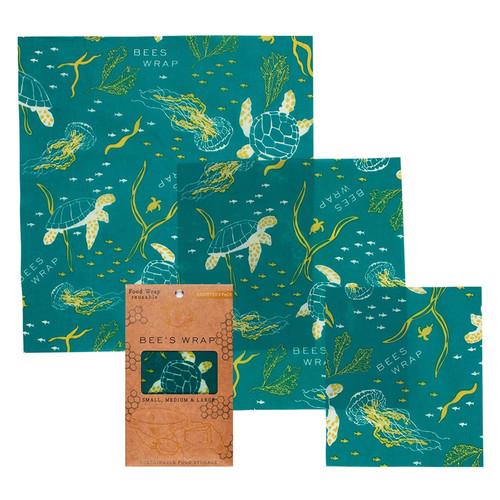 Reusable Food Wrap with Tie - Oceans + B&B Prints, Sandwich 2-Pak