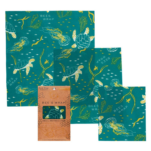Reusable Food Wrap - Oceans Print, Assorted 3-Pack