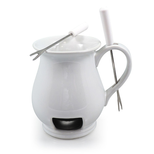 Indulge 4 Piece Chocolate Fondue Set, White