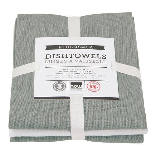 Dishtowels London Gray - Floursack, Set of 3