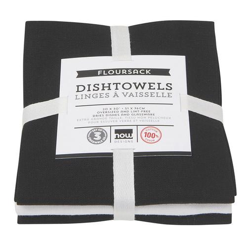 Dishtowels Black - Floursack, Set of 3