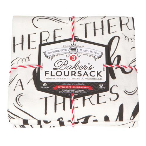 Dishtowels Homemade Happiness - Baker's Floursack, Set of 3