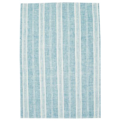 Pierre Tea Towel - Teal with White Stripes