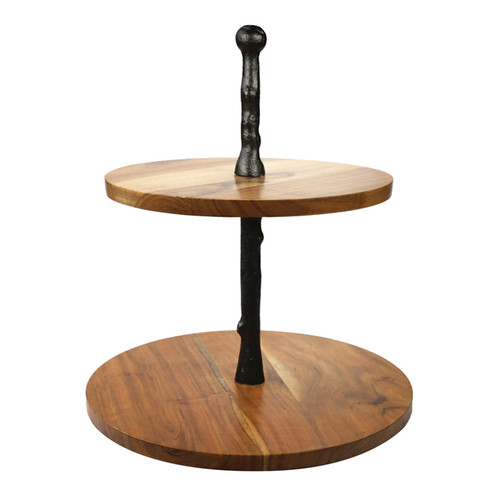 Wood Two Tier Cake Stand with Onyx Finish