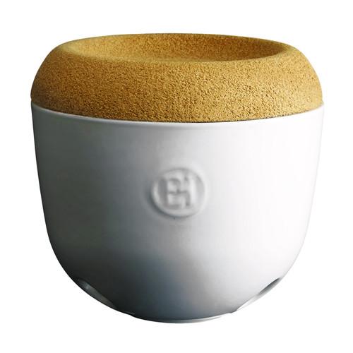 Garlic Pot with Cork Lid - Creme Ceramic, 5.7 x 5.3-in
