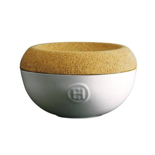 Salt Cellar with Cork Lid - Creme Ceramic, 5.7 x 3.4-in