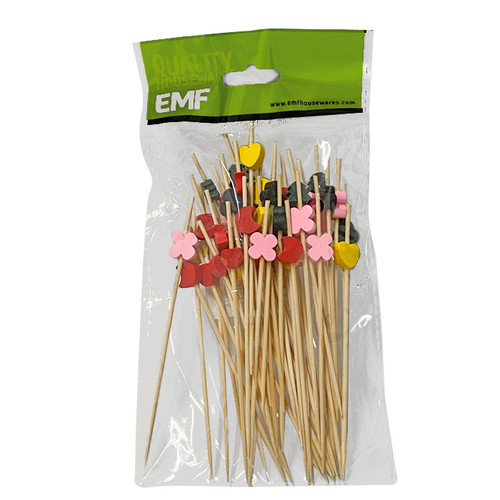 Bamboo Skewers - Multi Colour Charms, 4.7-in