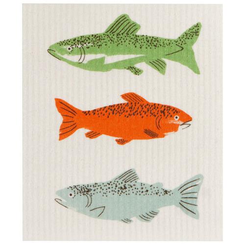 Swedish Dishcloth - Gone Fishin, 6.5 x 8-in