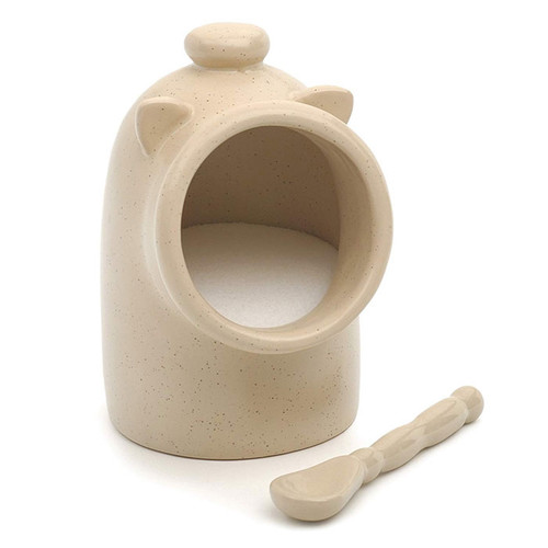 Salt Pig with Spoon - Stoneware, Oat
