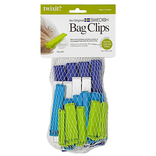 Bag Clips - Assorted Colours, Pack of 20