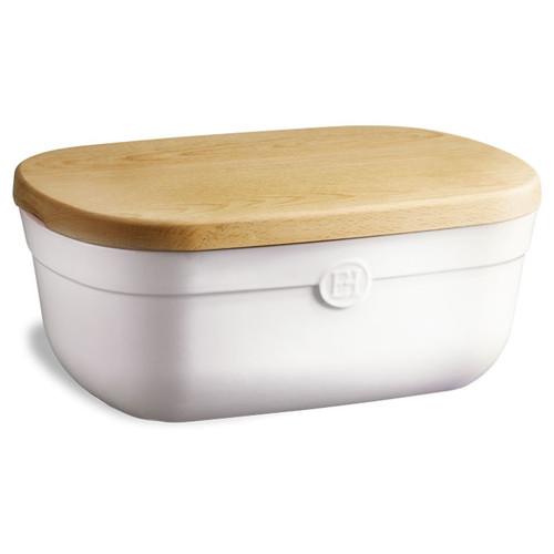 Bread Box With Cutting Board - Blanc Craie