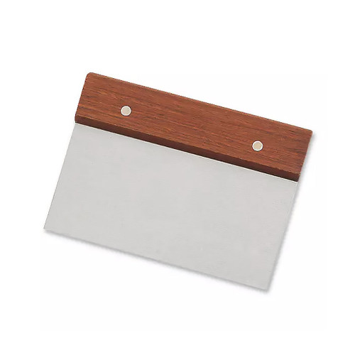Dough Scraper Wood Handle - Stainless Steel, 4 x 6-in