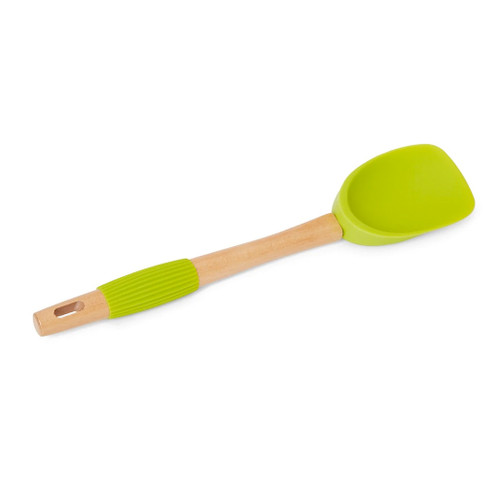 Spoon Spatula Green - Beechwood + Silicone, 31.5cm
