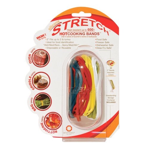 Stretch Silicone Cooking Bands - Assorted Colours, Set of 20