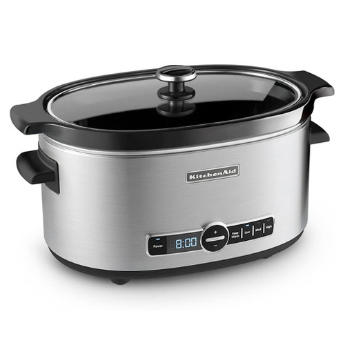 Slow Cooker with Solid Glass Lid, 6Qt