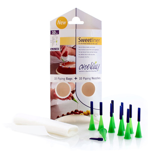 Clear Piping Bags & Nozzle Set, Pack of 10