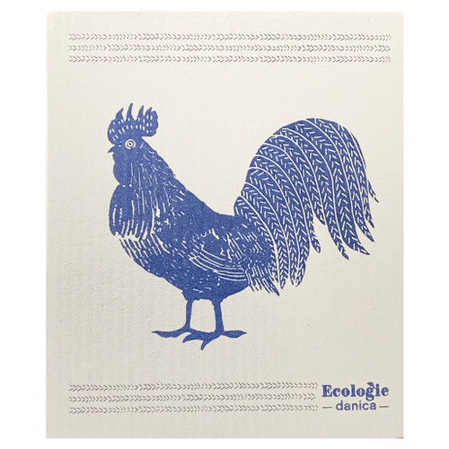 Swedish Dishcloth - Rooster, 6.5 x 8-in